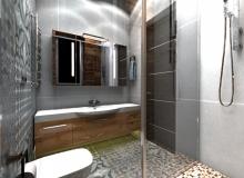 Современная ванная комната. Вид с душевой кабины