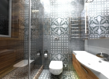 Современная ванная комната. Вид со входа.