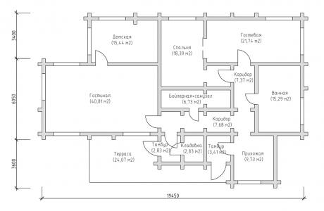 План первого этажа - Проект дома 12+
