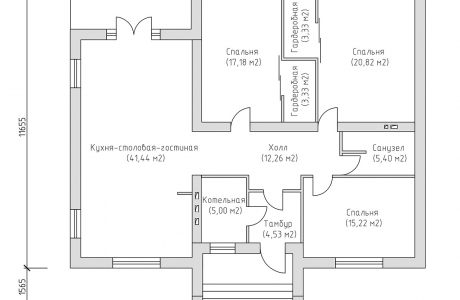 План первого этажа - Проект дома 13+