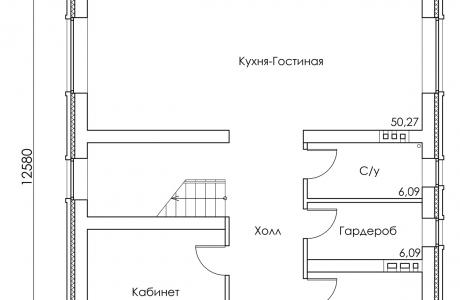 План первого этажа - Проект дома 17+