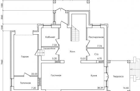 План первого этажа - Проект дома 19+