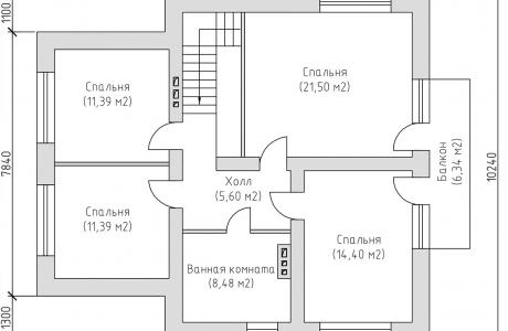 План второго этажа - Проект дома 2+