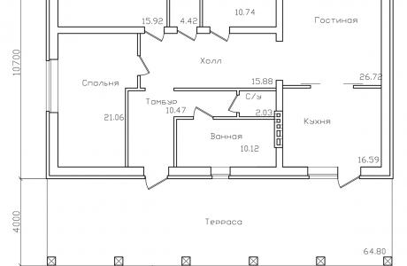 План первого этажа - Проект дома 22+