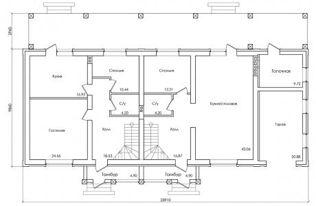 План первого этажа - Проект дома 24+