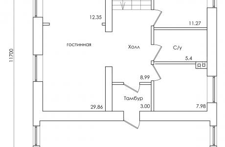 План первого этажа - Проект дома 25+