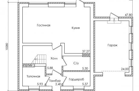 План первого этажа - Проект дома 28+