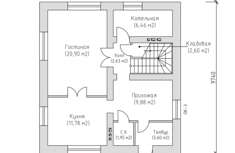 План первого этажа - Проект дома 3+