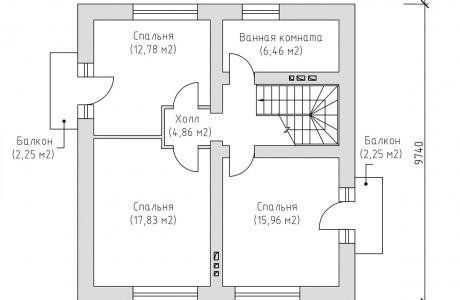 План второго этажа - Проект дома 3+