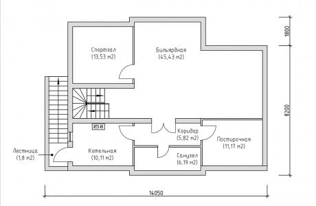 План подвального этажа - Проект дома 5+
