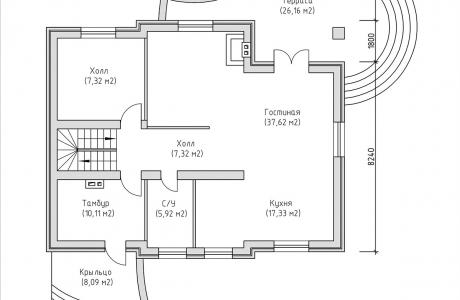 План первого этажа - Проект дома 5+