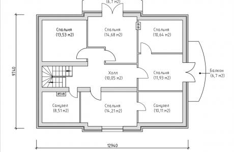 План второго этажа - Проект дома 5+