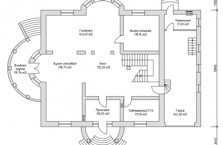 План первого этажа - Проект дома 6+