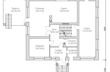 План первого этажа - Проект дома 7+