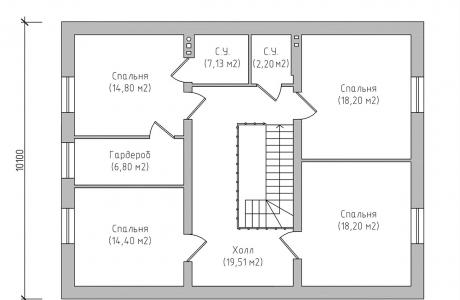 План второго этажа - Проект дома 9+