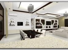 Зона приема пищи в кухне столовой